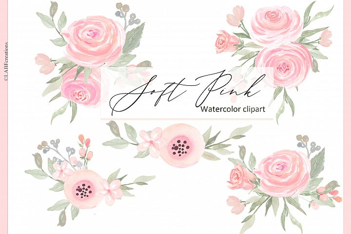 Soft pink watercolor flowers clipart