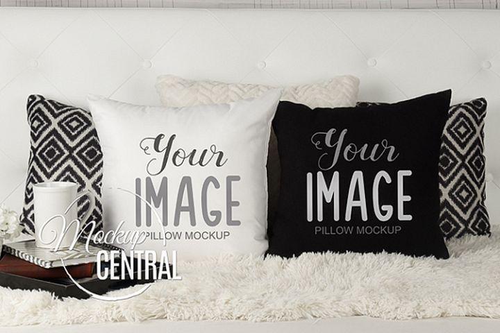 Blank White & Black Square Mockup Bedroom Pillow JPG