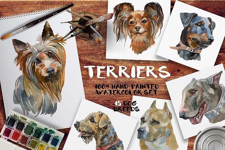 Terriers watercolor set
