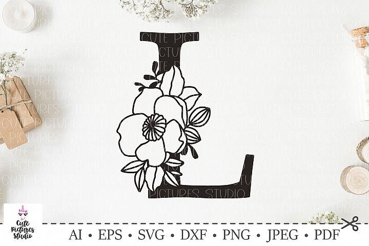 Botanical alphabet svg. Floral letter L svg. Bundle SVG, DXF