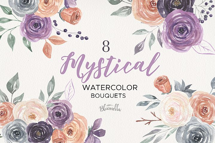 Mystical Watercolor 8 Clipart Bouquets Flowers Berries