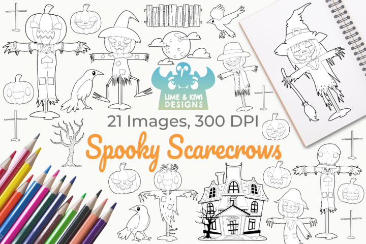 Spooky Scarecrows Digital Stamps