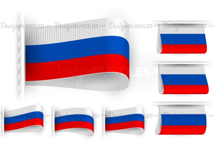 Vector Russia Flag Tag Clothes Label Sticker Sewn Set