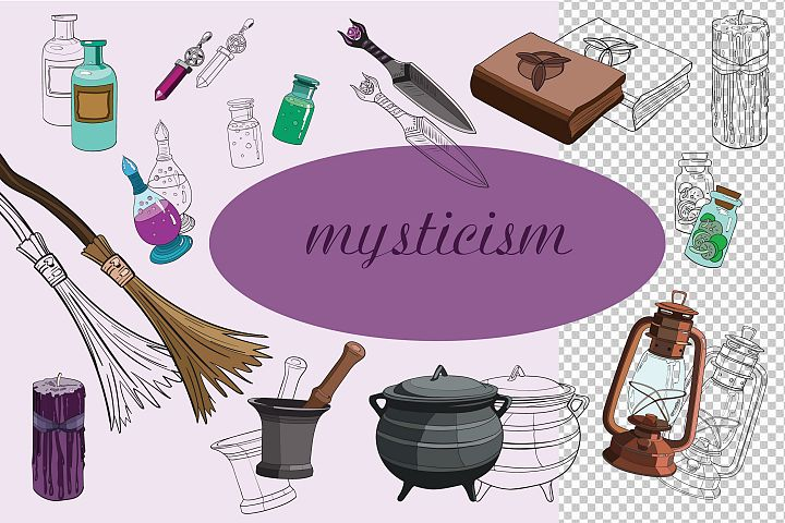 set of mystical objects of the witch