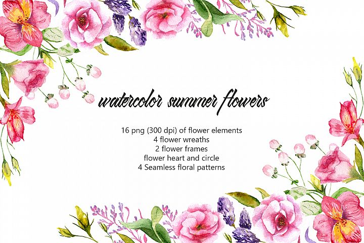 Remembrance of summer. Watercolor summer flowers