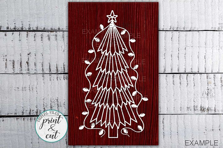 Primitive Christmas Tree Old vintage style svg dxf to cut