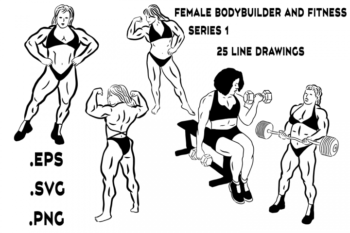 Female Bodybuilder and Fitness Line Drawings Series 1