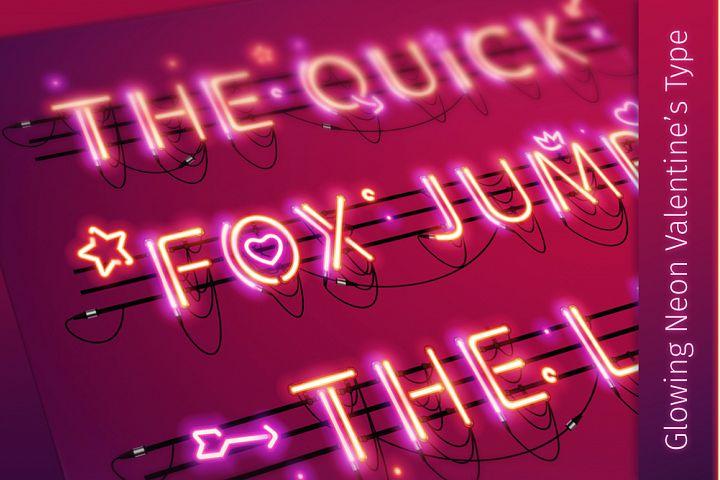 Glowing Valentines Neon Type