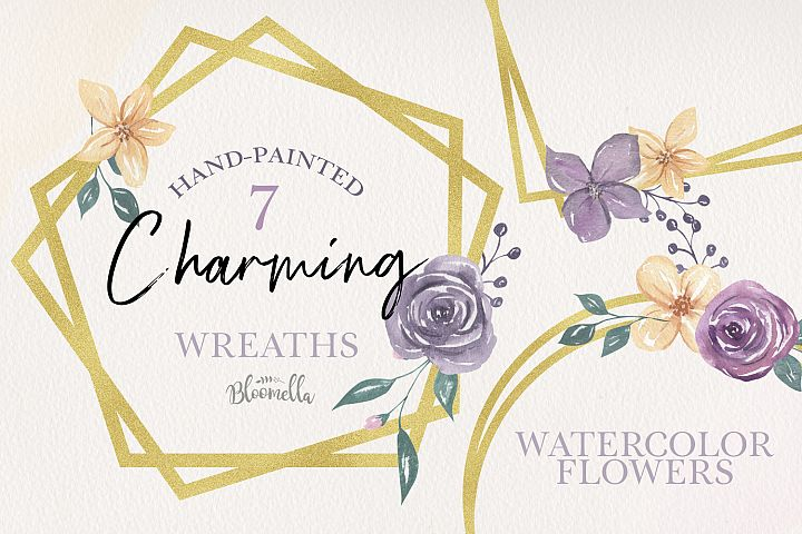 Charming Gold 7 Frames Watercolor Purple Florals Watercolor