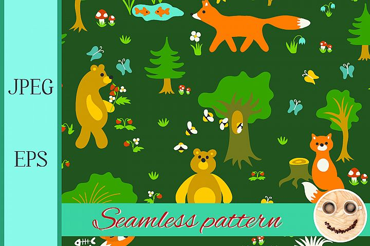 Animals in forest seamless pattern.