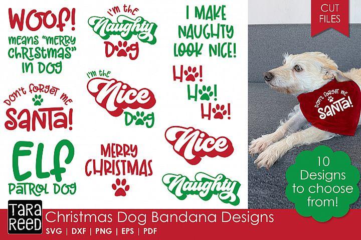 Christmas Dog Bandana Designs - Dog SVG and Cut Files