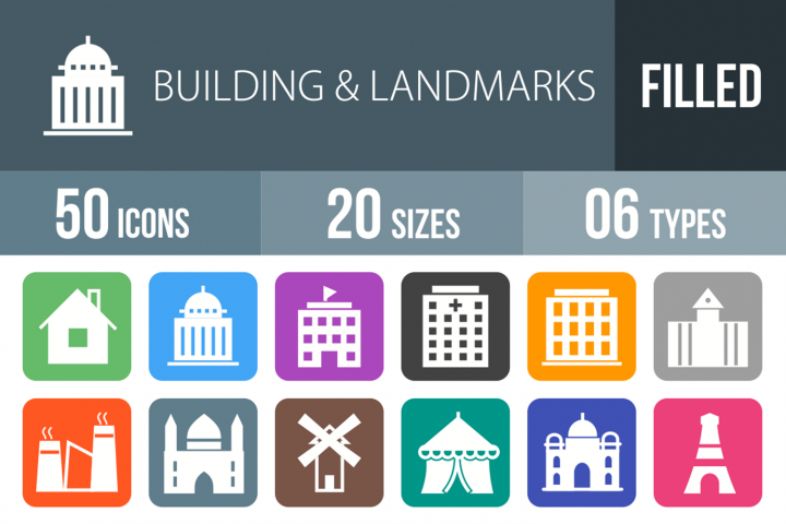 50 Buildings & Landmarks Filled Round Corner Icons