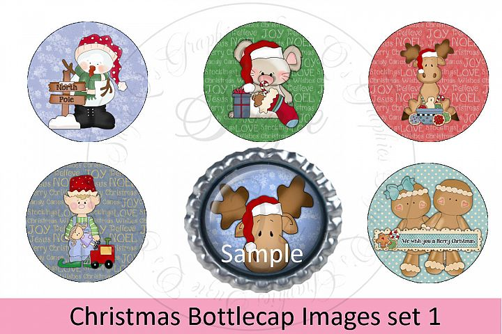 Christmas Bottlecap Images set 1, Labels