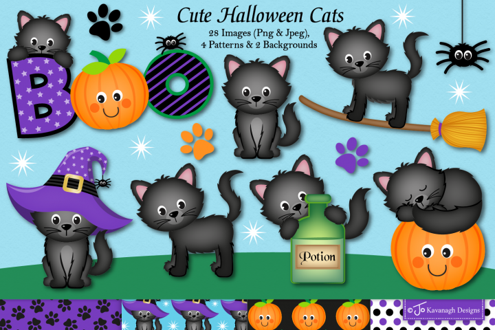 Halloween clipart,Halloween cat graphics & illustrations-C39