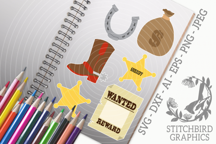 Wild West Bundle SVG, Silhouette Studio, Cricut, Eps, JPEG