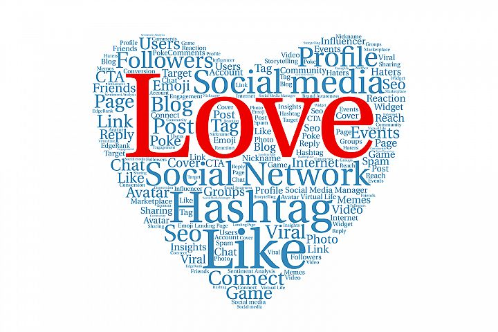 Heart shape with social media network tags