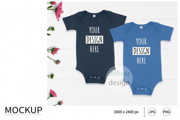 True Royal. Navy. Sibling Outfit Mockup. Bella Canvas 100B.