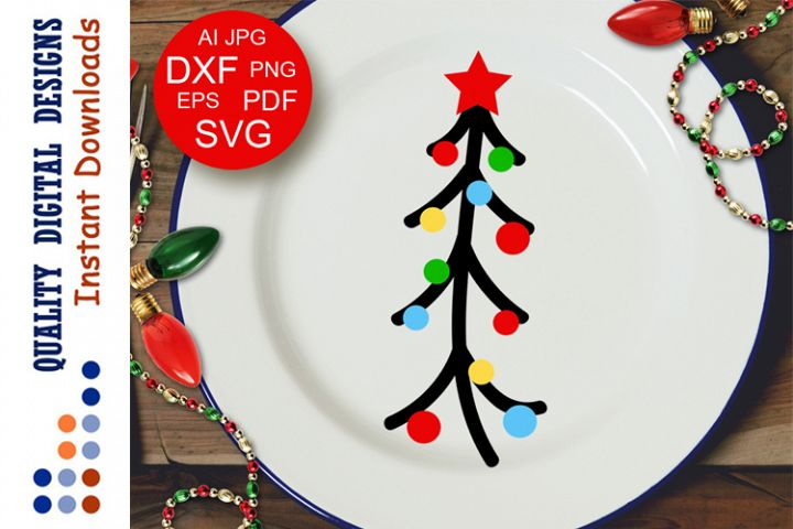 Christmas tree clip art Xmas decor Cut files Svg