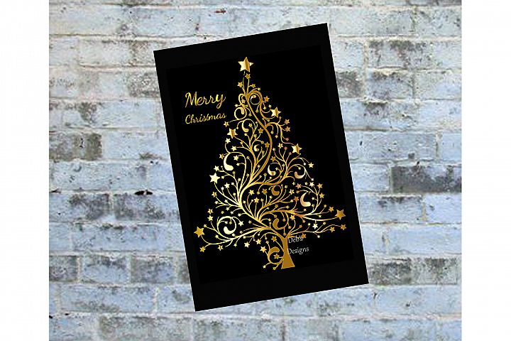 Digital Christmas Card, Printable Digital Christmas Card, Card, Black and Gold Christmas Card, Happy Holidays Card, Instand Download Card