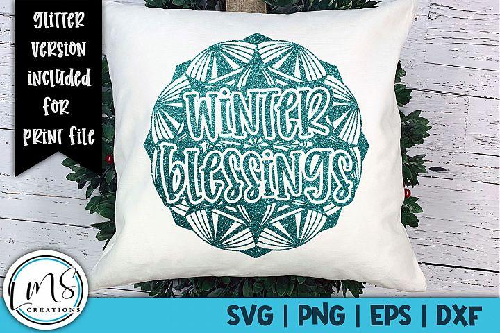 Mandala - Winter Blessings SVG, PNG, EPS, DXF