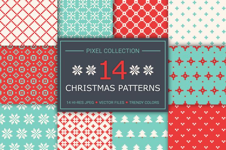 14 Christmas Pixel Seamless Patterns