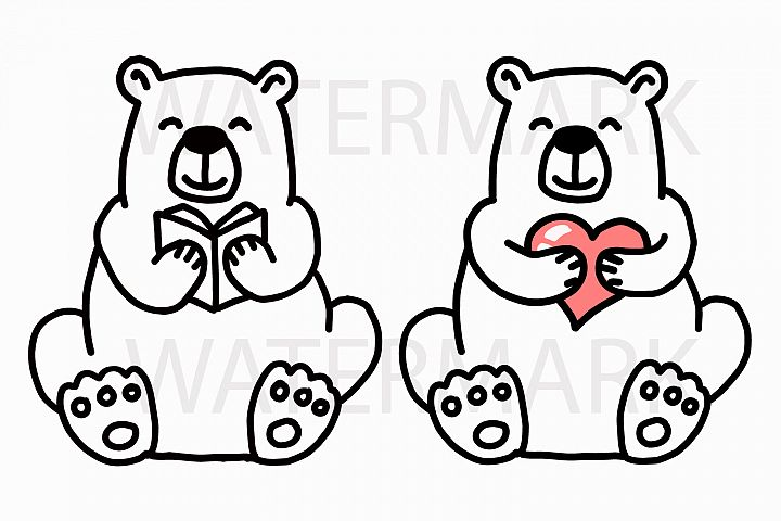 Bear Reading Book with Bear Holding a Heart - SVG/JPG/PNG