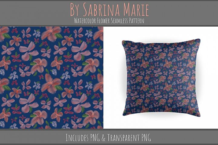 Watercolor Flower Seamless Pattern | Repeating Pattern