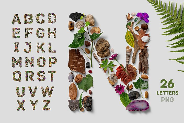 Flatlay Nature Alphabet