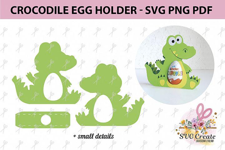 Kinder surprise egg holder, svg cut file, Crocodile template