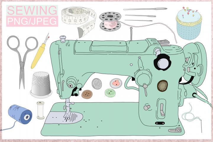 Cartoon Sewing Bundle | 11 illustrations | PNG/JPEG Clip Art