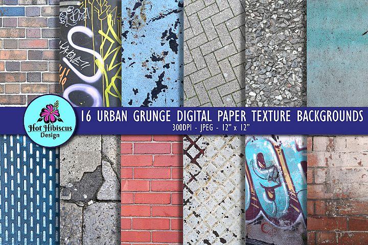16 Grunge Urban Textures Digital Papers Bundle