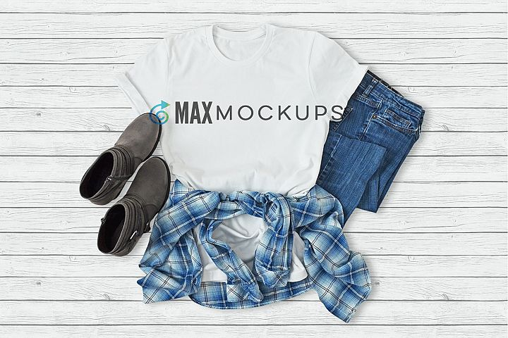 White t-shirt mockup, flannel, jeans, boots, flatlay display