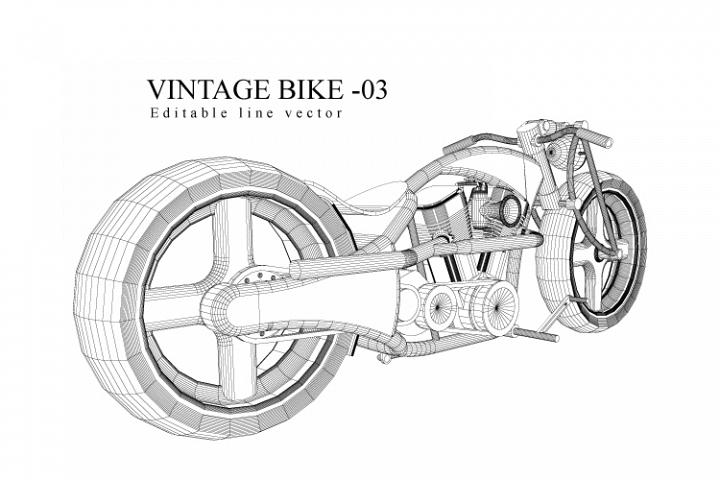 Vintage bike - editable line vector