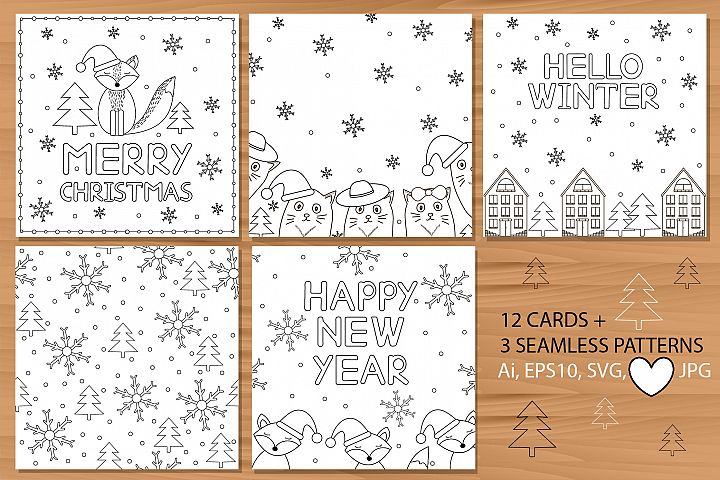 12 cards and 3 patterns. Winter, New Year and Christmas