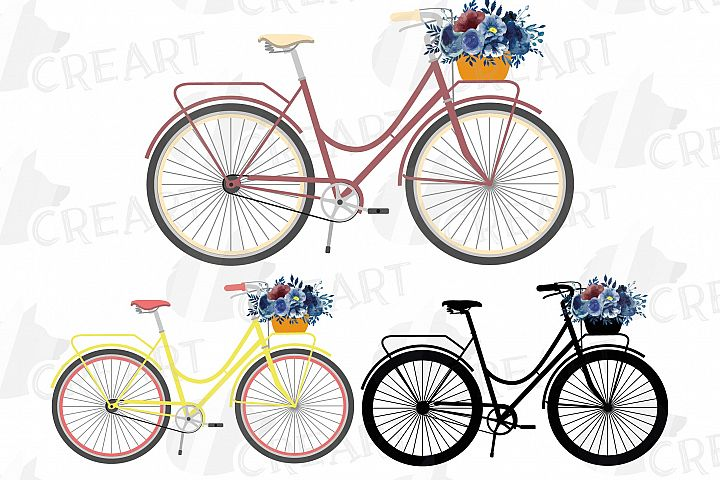 Navy blue floral blush and yellow bicycles clip art pack