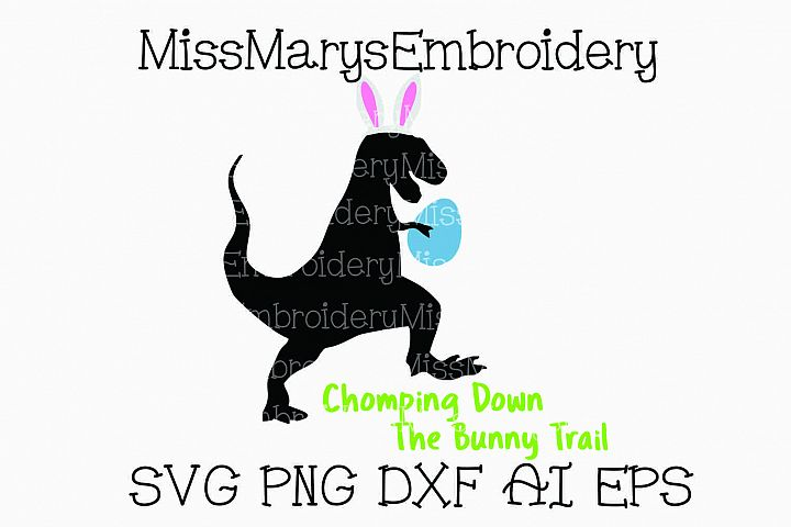 Easter Bunny T-Rex SVG Cutting File PNG DXF AI EPS