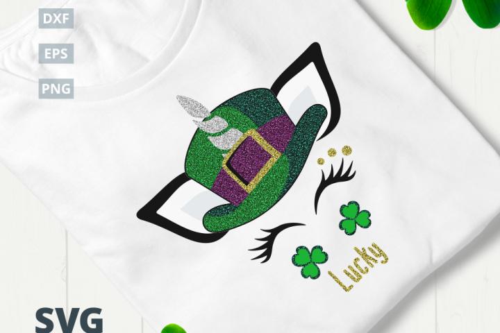 St. Patricks Day Lucky Unicorn SVG Cut File|SVG |DXF |EPS |PNG