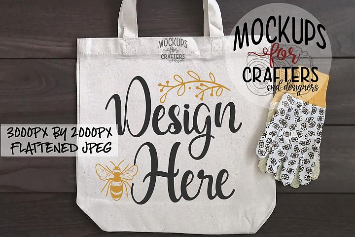 Tote Bag, gardening gloves prop, Mock-Up,