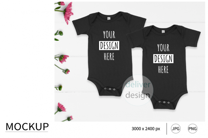 Black.Sibling Outfit Mockup. Bella Canvas 100B.