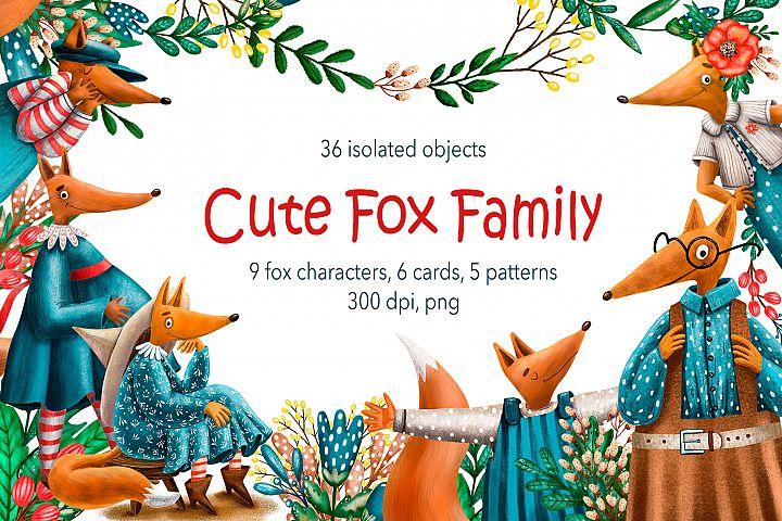Cute Fox Family - Clip Art Set