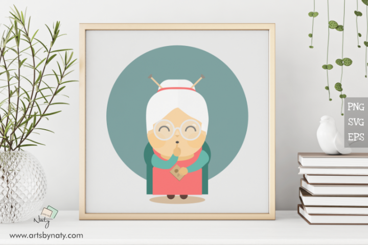 Cute granny holding a recipe book. Flat vector illustration.