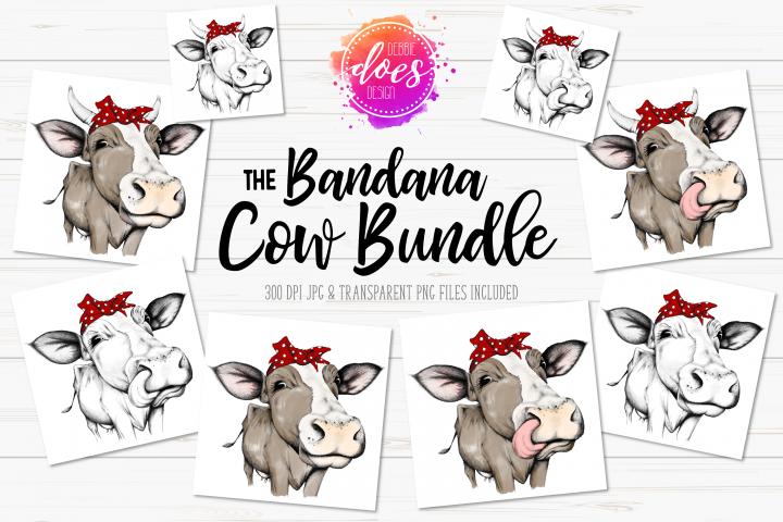 The Bandana Cow Bundle - Hand Drawn Cow Illustrations
