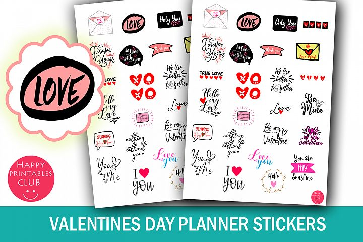Valentines Day Planner Stickers- Romantic Planner Stickers