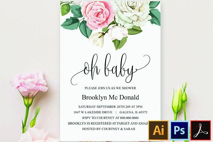 Greenery Baby Shower Invitation, Oh Baby Invitation Template