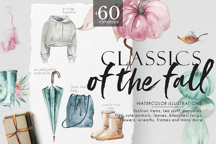 Classics of the fall - Watercolor Clipart
