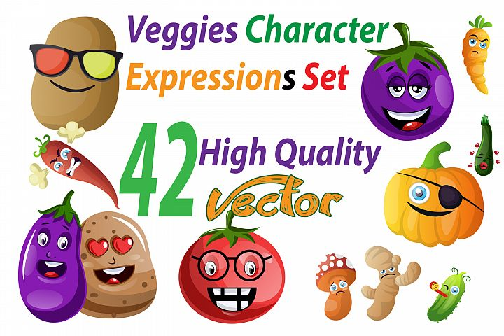 42X Veggie Character/Expression Illustrations