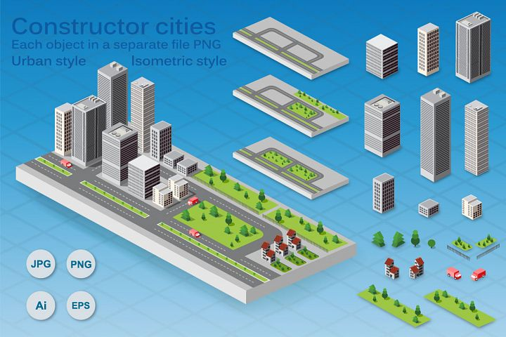 A constructor cities in format PNG, JPG, EPS