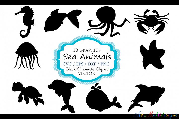 Sea animals silhouette / vector sea animal / sea animal SVG file / EPS vector / sea animals clipart
