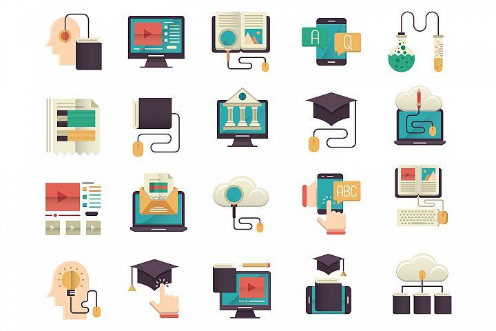 Online education flat icons set