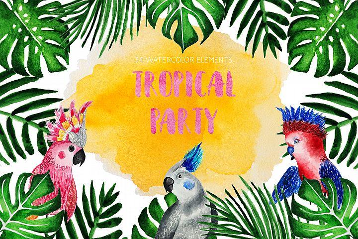 Tropical Party. Watercolor parrots
